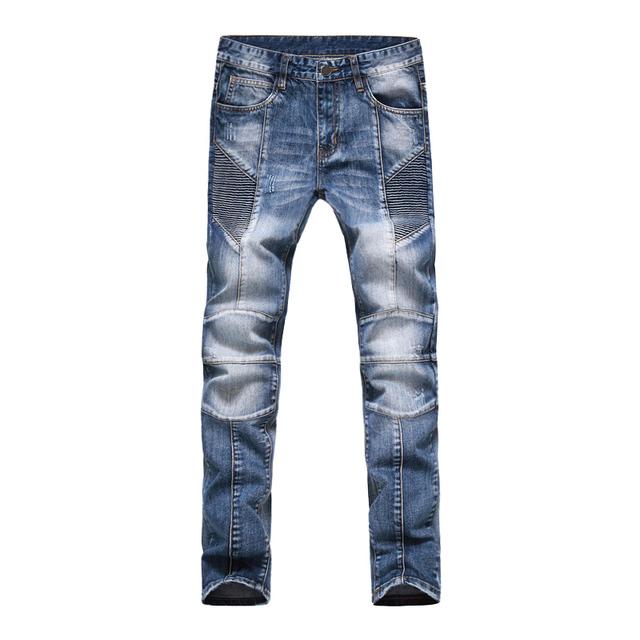 2017 Hombres Pantalones Vaqueros de Diseño Biker Jeans Para Hombres Slim Fit Denim Jeans E1701