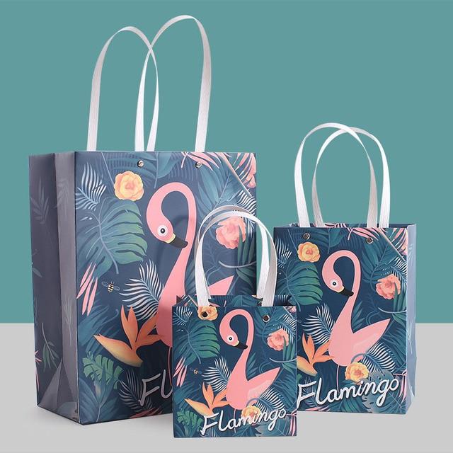 Lovely Cartoon Flamingo Handbag Shopping Bag Storage Bags Paper Candy Box  Gift Bags Wedding Party Birthday