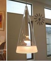 AC100 240V D16 X 22 cm przezroczysty szklany klosz stożek stożek lampa żyrandol nowoczesny jadalnia pokój dzienny lampa studyjna E14 w Wiszące lampki od Lampy i oświetlenie na