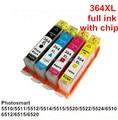 4 cores para hp364XL 364 XL cartucho de tinta compatível para HP Photosmart 5510 / 5511 / 5512 / 5514 / 5515 / 5520 / 5522 / 5524 / 6510 6512 / 6515 / 6520