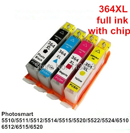 4color for hp364xl 364 xl compatible ink cartridge for hp photosmart 5510 5511 5512 5514 5515. Black Bedroom Furniture Sets. Home Design Ideas