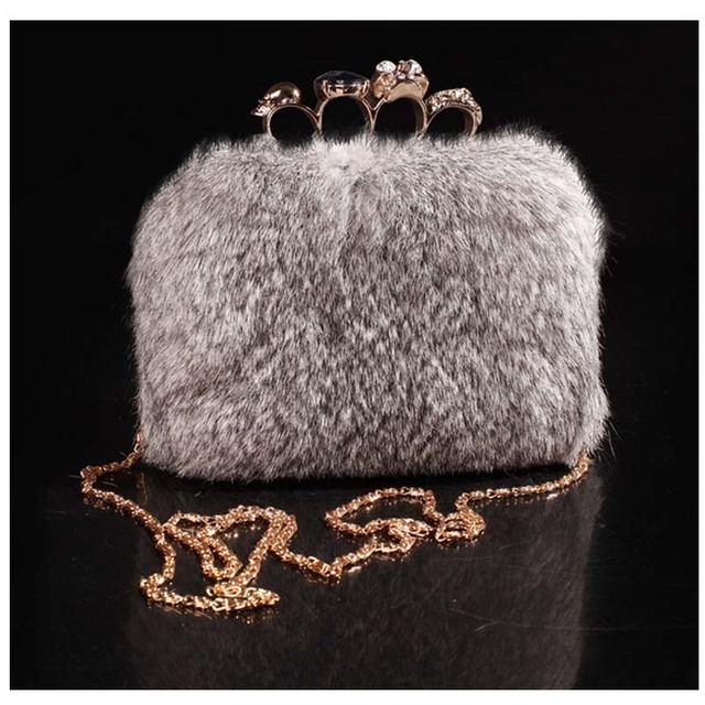 2016 Women Evening Shiny Jewel Plush Handbag Ladies Wedding Day Clutches Party Bags mink chain bag Feminina bolsa mujere  XA681B