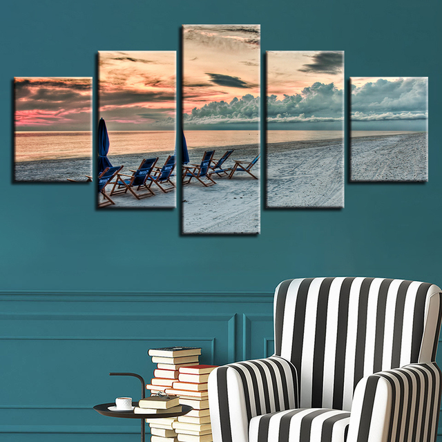 Chair Photo Frame Hd Amazon Lift Home Decoration Living Room Printed Modern Canvas 5 Panel Beach Pictures Painting Wall Art