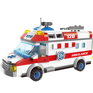 QWZ City Ambulance Car Figure Blocks Educational Construction Building DIY Bricks Toys For Children Gifts