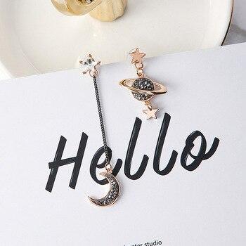 2017 New Design Asymmetric Earrings For Women Trendy Bijoux Rhinestone Moon Star Planet Pendientes Hot Christmas Gifts