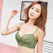 Womens Super Push Up Bra Wireless Lace Embroidery Bras Padded Brassiere Sexy Lingerie Bralette Size 30 32 34 36 38 A B C D Cup