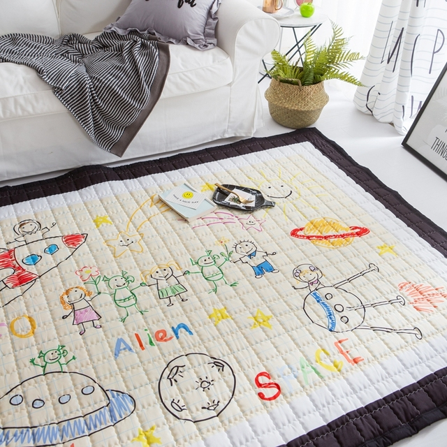 Soft Quilted Cartoon Mats Baby Crawling Carpet For Living Room Rectangle Rugs And Carpets