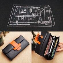 1 conjunto diy modelo de couro acrílico casa handwork leathercraft costura padrão ferramentas acessório bolsa 220x130x20mm