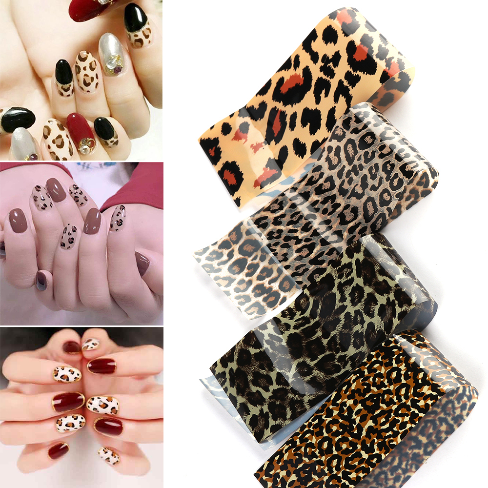 16Sheets Leopard Print Stickers On Nails Foils Starry Sky Wraps Transfer Decals Polishing Sliders Nails Wrap Decaration