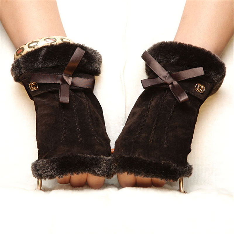 Gants en cuir véritable daim Mode femmes Fashion