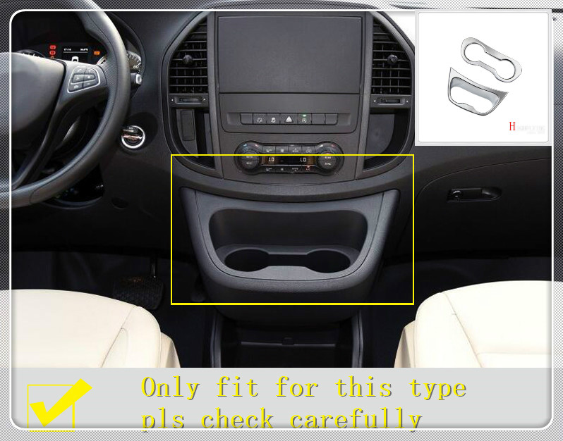 For Mercedes-Benz Vito W447 2014-2018 Inner Water Cup Holder Decoration Cover Trim Car-styling Auto Accessories