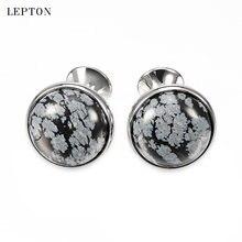 Лептон Роскошные алебастер каменные запонки для мужских рубашек