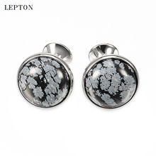 hot deal buy lepton luxury alabaster stone cufflinks for mens shirt cuff cuff links gold color plated high quality snowflake stone cufflinks
