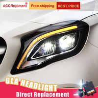 2 Pcs LED Scheinwerfer Für Benz GLA 2015-2019 led auto lichter Engel augen xenon HID KIT Nebel lichter LED Tagfahrlicht