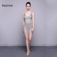 Baijinbai Cocktail Dresses 2018 Luxo Lindo Novo Estilo Transparente Ver Através Lantejoulas Frisado Decote Em V vestido Curto Festa Dresses78291
