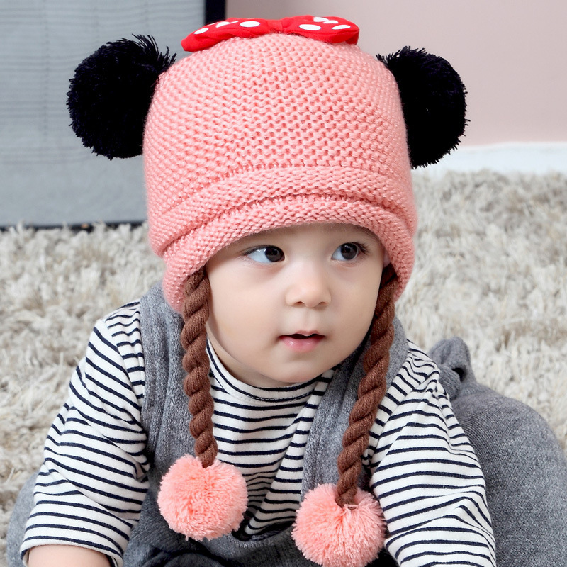 df902763d7e Cute Baby Wig Hats Bow-knot Children s Knitted Braids Hat For 3 to 18 Months