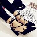 Крест ремнями женщин туфли на высоком каблуке 2016 новых корейской острым носом женская обувь мелкая рот выдалбливают туфли на каблуках черный Zapatos Mujer
