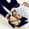 Cross Straps Women Pumps 2016 New Korean Pointed Toe Ladies Shoes Shallow Mouth Hollow Out High Heels Shoes Black Zapatos Mujer