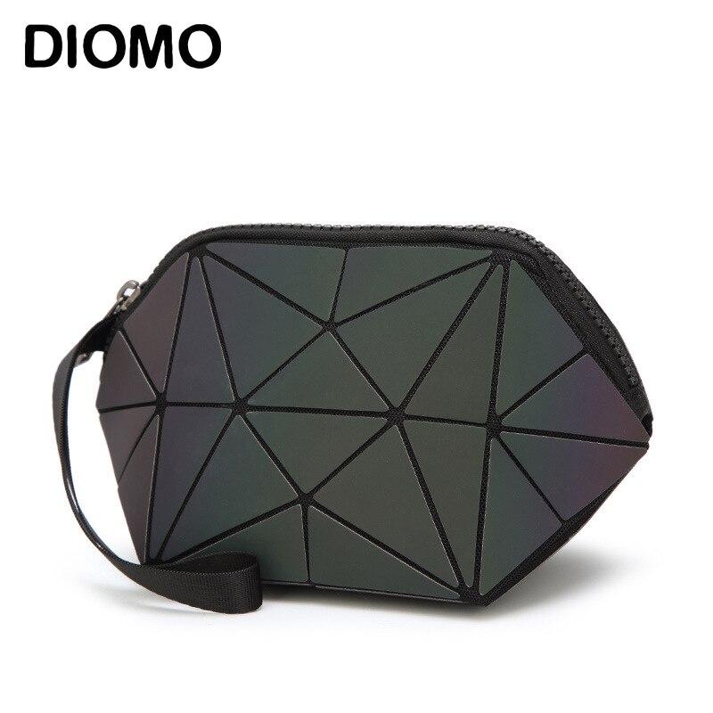 Diomo Reise Veranstalter Leucht Kosmetik Tasche Für Frauen Make-up Tasche Geometrie Gitter Toiletry Schönheit Fall Machen Up Pouch Geldbörse Mit Traditionellen Methoden