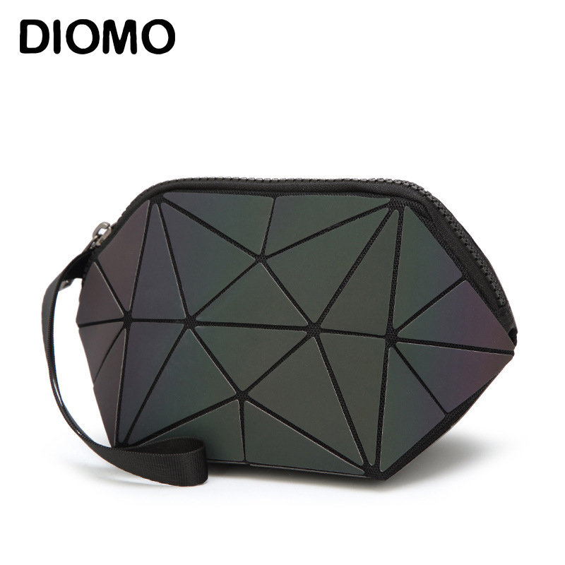 DIOMO Travel Organizer Luminous Cosmetic Bag for Women Makeup Bag Geometry Lattice Toiletry Beauty Case Make Up Pouch Purse бумага крепированная белый перламутр 50х250 см 28592 10