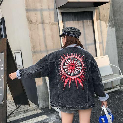 bleu Peter Veste Denim Style Femmes Unique Pan Laine Manteau Bomber Black Poitrine Au Imprimer Imitation Col Garder Ash Preppy Chaud wHwFOq