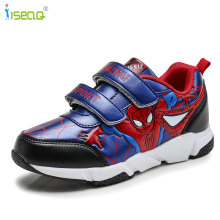 Barn pojkar Spiderman Sneakers, Kids cartoon Sportskor pojke PU Casual Boots Rubber Button sportskor EUR 26-37