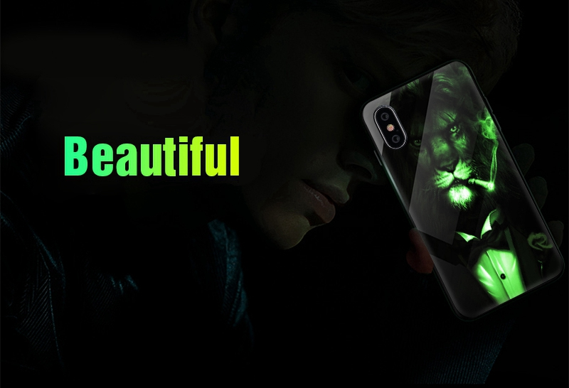 Luminous Case For iPhone X XS MAX Case For iPhone 7 6 s 8 Plus X 10 Luxury PC+Tempered Glass Pattern Silicone Edge Cover (2)