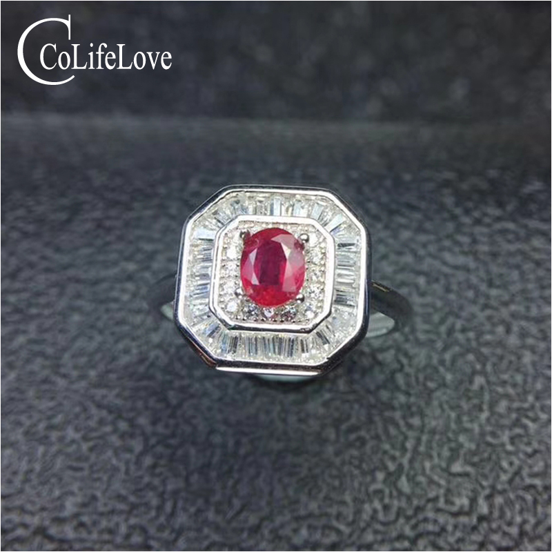 купить Royal design ruby silver engagement ring for woman 4 mm * 5 mm 0.4 ct real natural ruby ring solid 925 silver ruby jewelry по цене 4753.03 рублей