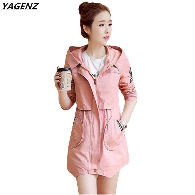 Women   Trench   2017 Spring Autumn Fashion Medium Long Windbreaker Coat Hooded Casual Tops Large Size Student Outerwear YAGENZ K336