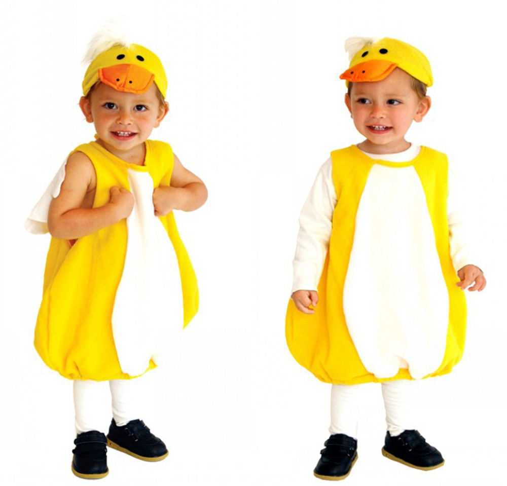 Cosplay children's little yellow duck costume jumpsuit / hat kids baby stage costume Halloween carnival costume