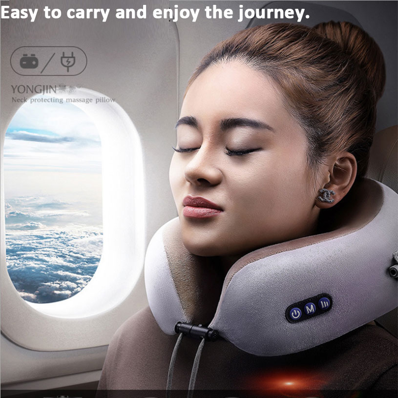 Multifunctional Massage Pillow Electric Neck Massager Portable Health Care Cervical Device Travel U-shaped