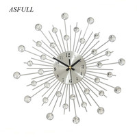 Vintage Metal Crystal Wall Clock Luxury Diamond Large Morden Wall Clock for Creative simplicity Clock Mute Design Home Decor