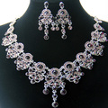Rhodium Plated Crystal Vintage Women Jewelry Wholesale Fashion Purple Imitation Diamond African Bridal Wedding Jewelry Sets