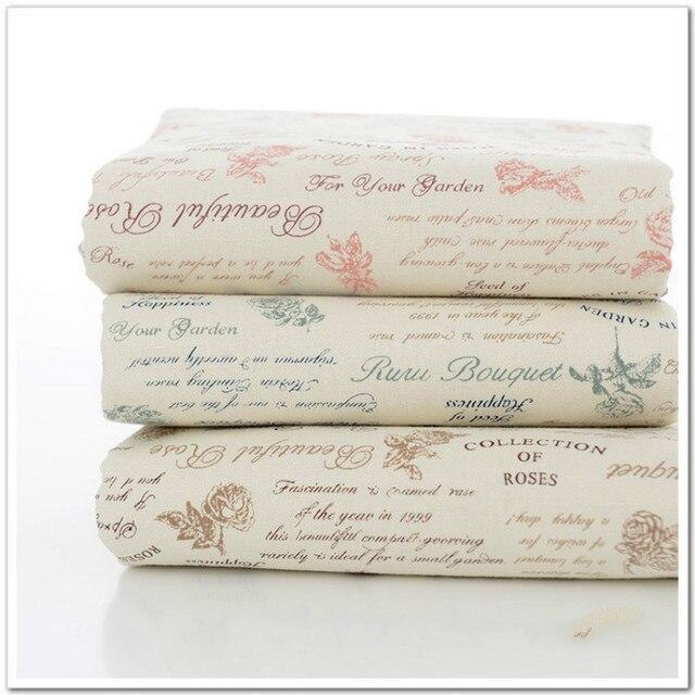 Imprimé Rose coton lin tissu par mètre DIY couture d\'ameublement ...
