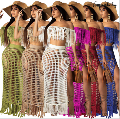 <font><b>Fashion</b></font> <font><b>Sexy</b></font> <font><b>Women's</b></font> Solid Tassel Hollow Out Cloth Sets <font><b>Off</b></font>-<font><b>shoulder</b></font> Slash-neck <font><b>Short</b></font> <font><b>Sleeve</b></font> <font><b>Tops</b></font> and Side Slit Beach Skirt S-XL image