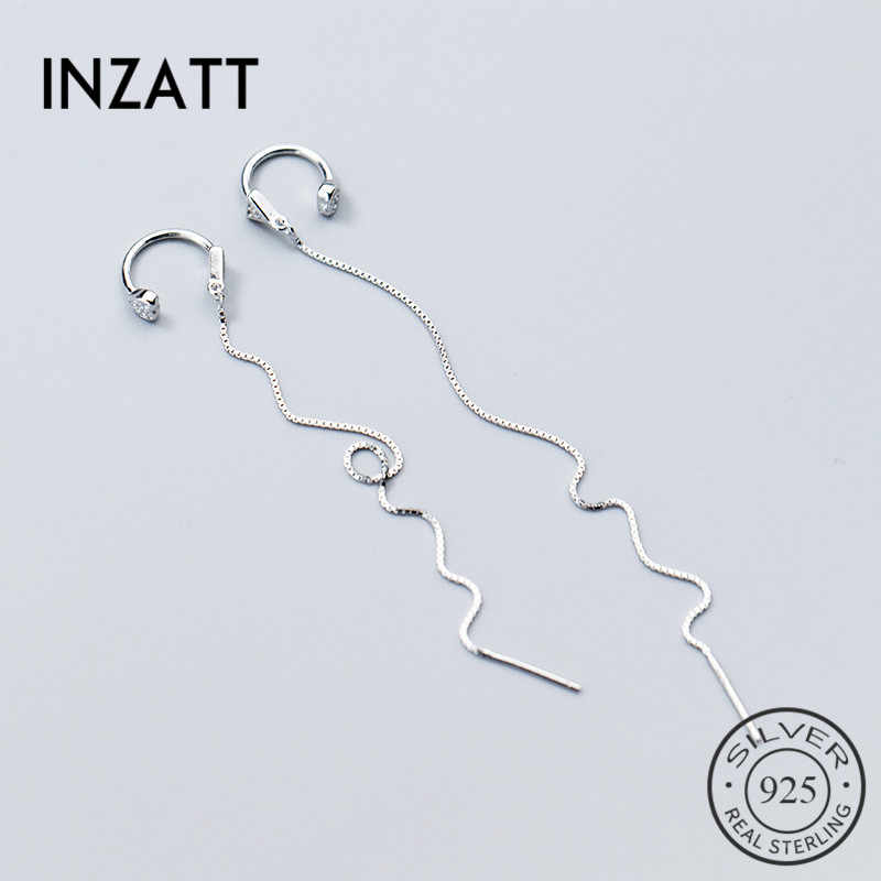 INZATT Indah Menjuntai Drop Earrings Heart Earrings Wanita Pernikahan Rumbai panjang 925 Sterling Silver Perhiasan bijoux Hadiah
