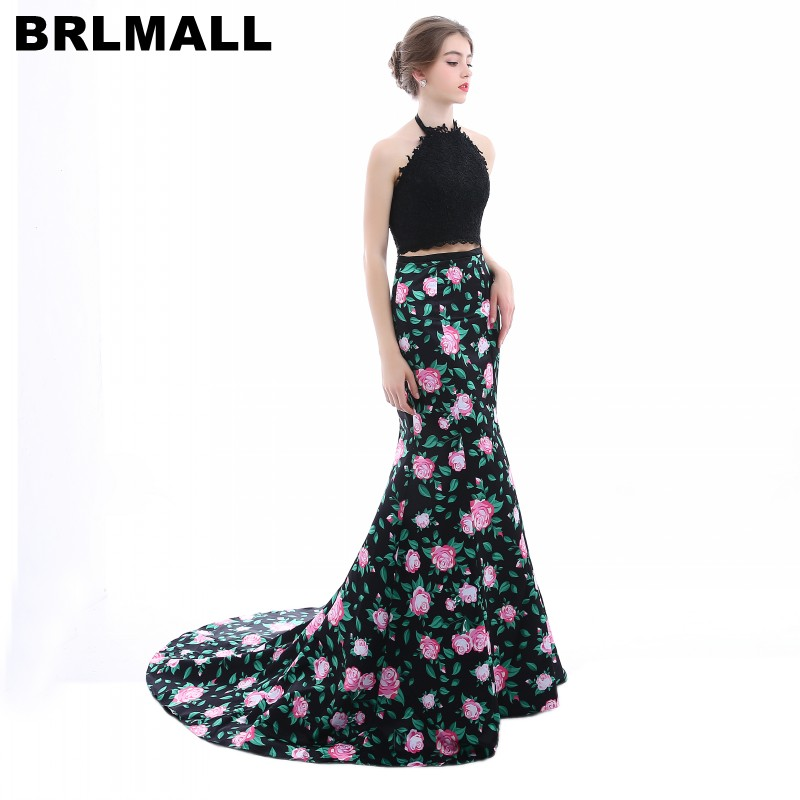 BRLMALL Stunning Halter Mermaid   Prom     Dress   2017 Trendy Printed Flower Two Pieces Evening   Dress   Party Gown robe de soiree