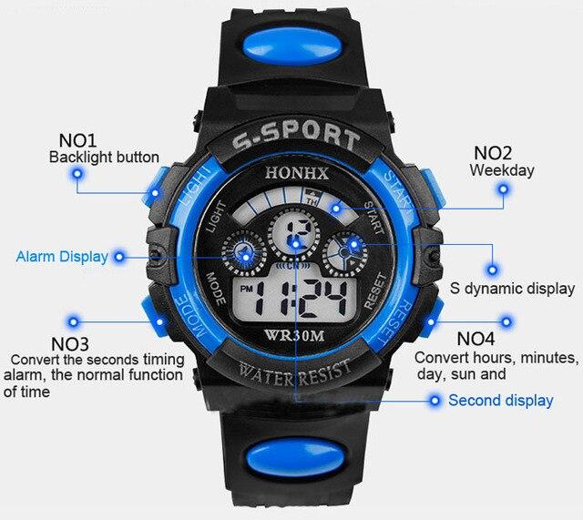 Splendid Waterproof Children Boy Digital LED Quartz Alarm Date Sports Wrist Watch Clock time dropshipping