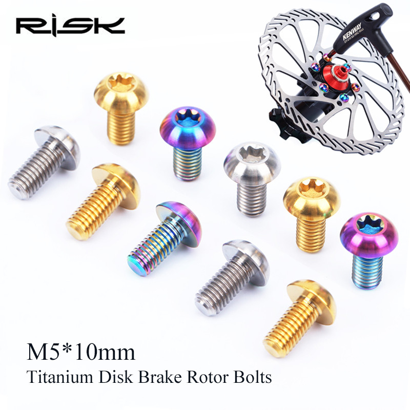 12pcs M5*10mm Risk Disk Brake Rotor Bolts Mountain Bike Titanium Disc Screws T25 Plum Disc Brake Screws Brake Rotor Screw