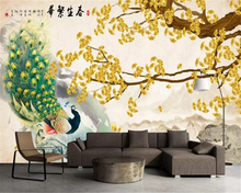 beibehang Custom silky wall paper new Chinese ginkgo ink landscape painting peacock TV background papel de parede 3d wallpaper