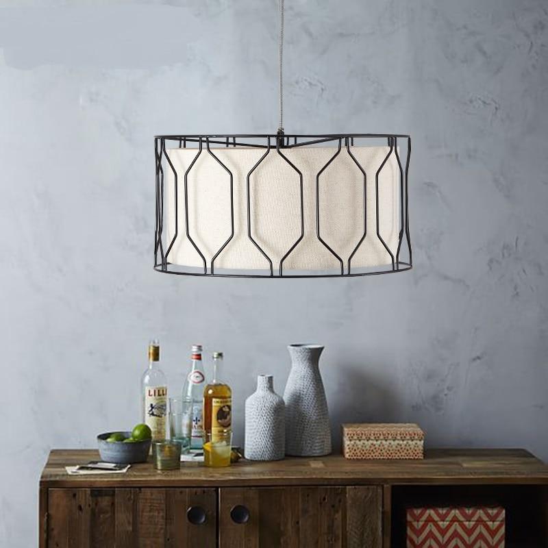 Nordic Простой Творческий подвесные светильники Спальня Кабинет Утюг art лампа ткань всасывания висит двойного назначения ZL91