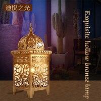 Арабская Золотая Светодиодная E27 настольная Европейская лампа для помещений, гостиной, спальни, декоративная настольная лампа 220 В, медная С