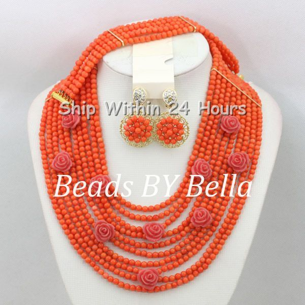 Wonderful Women Costume Jewelry Set Pink Coral Beads Flower Necklace African Wedding&Party Beads Jewelry Free Shipping ABC930