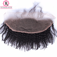 Rosa Queen 13×4 Lace Frontal Closure With Baby Hair Mongolian Afro Kinky Curly Remy Hair Natural Black 100% Human Hair