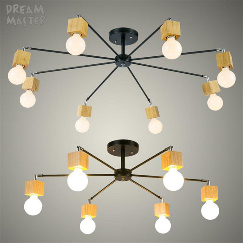 Modern wood LED ceiling chandelier Black White living room bedroom children