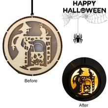 New Halloween Round Laser Wooden Hanging Decoration LED Light Party Supplies