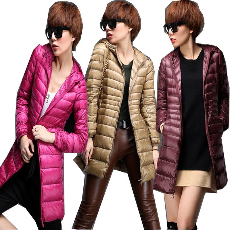 2018 Warm Winter Jacket Women Fashion Cotton White Duck Down   Parka   Ultra-light Down Cotton Jacket Long Elegant Outwear DP020