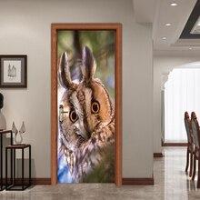 купить Cute Owl Kids Rooms Door  Sticker Wall Decals Wallpaper Birds Animal Vinyl Wall Stickers Self Adhesive Home Decor YMT046 дешево