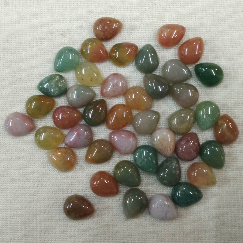 2017 trendy high quality natural india onyx drop CAB CABOCHON 8x10mm beads for jewelry making 50pcs/lot Wholesale free shipping
