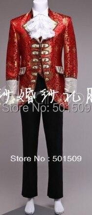 červený zlatý oblek, vesta, límec květ a kalhoty pánské období kostým Středověká renesanční divadelní představení / princ okouzlující
